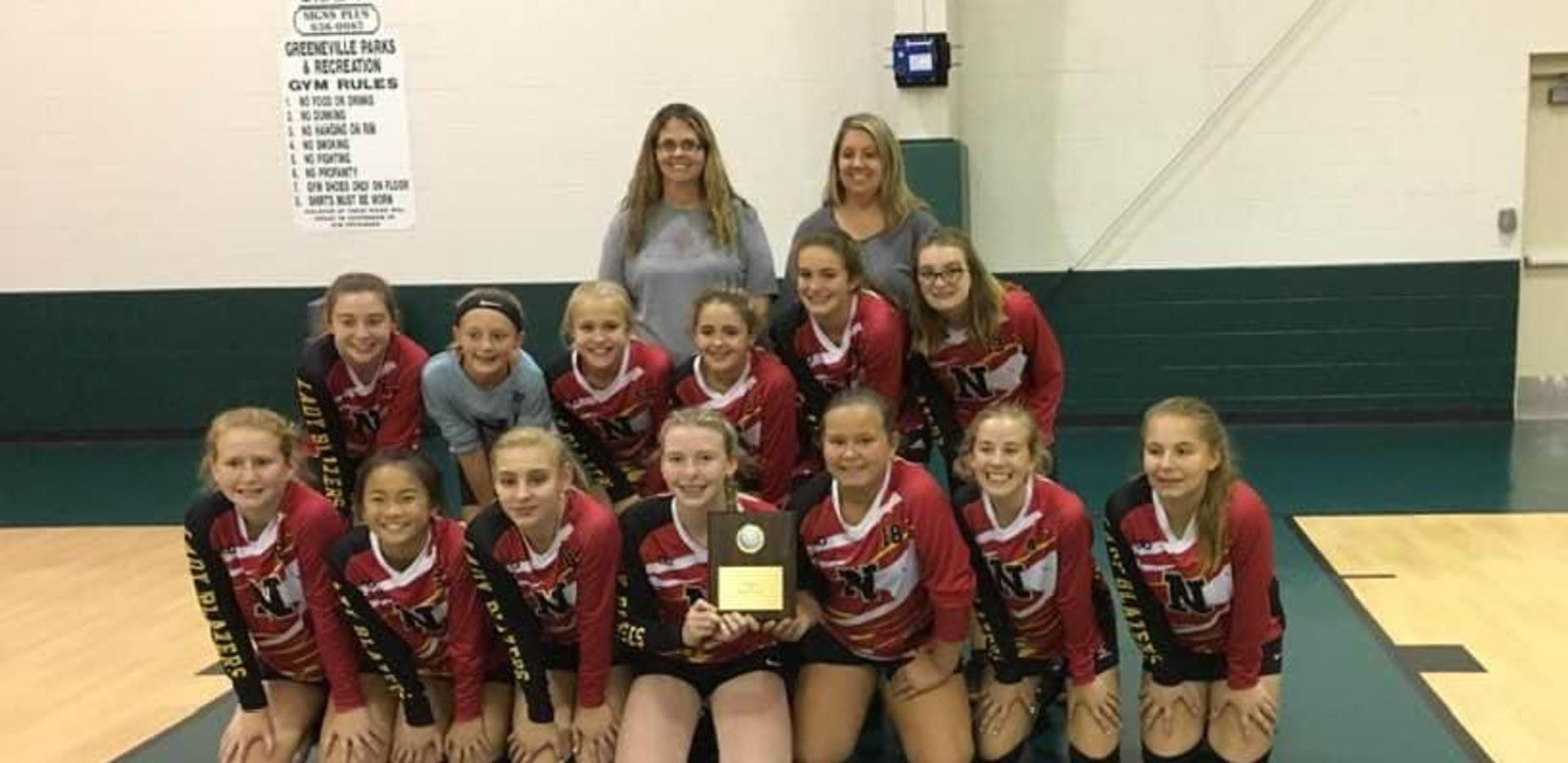 Photo of Nolachuckey girls volleyball team.  Congratulations Lady Blazers! Second in Sports on the Court Tournament.