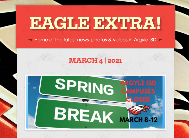 Argyle ISD Eagle Extra: Thursday, March 4, 2021 Thumbnail Image