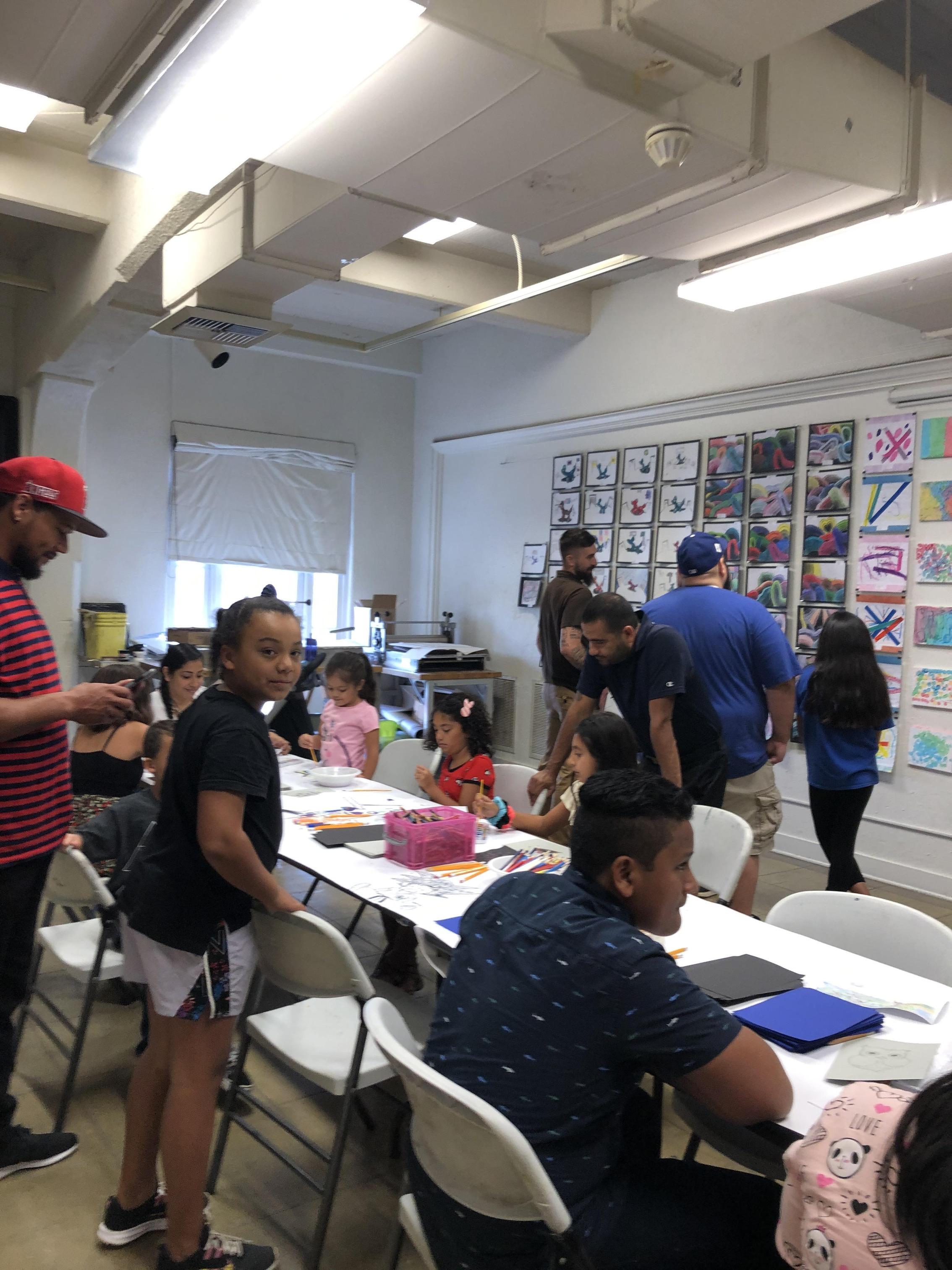 Students doing art activity