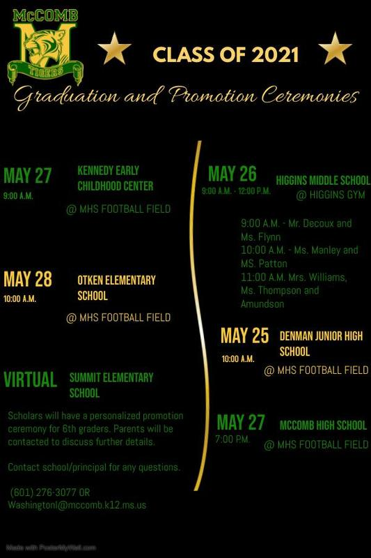 McComb School District Graduation & Promotion Ceremony Dates 2021