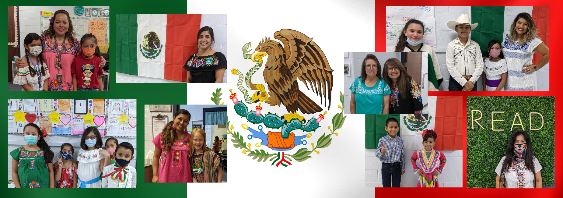 collage of students and teachers dressed up for Mexican heritage month