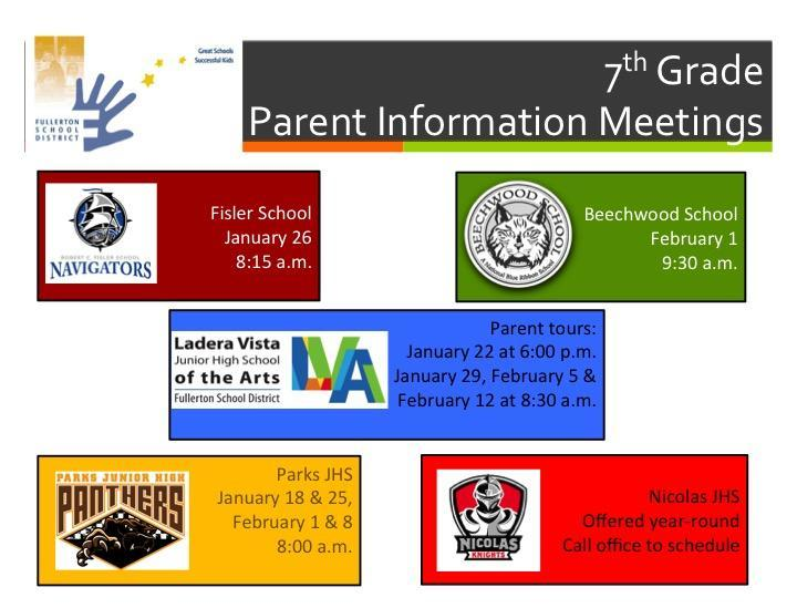 JHS Parent Information Meetings
