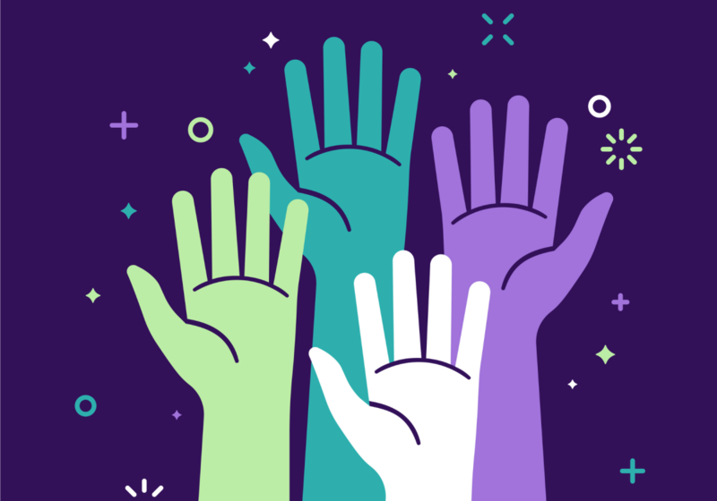 four outlines of hands raised against a dark background