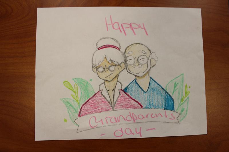 Student drawn Grandma and Grandpa