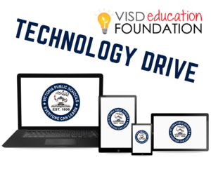 VISD Education Foundation Technology Drive with laptop, tablet, and smartphone
