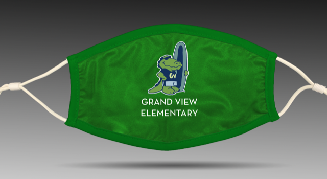 Green Gator Face Mask Centered Logo