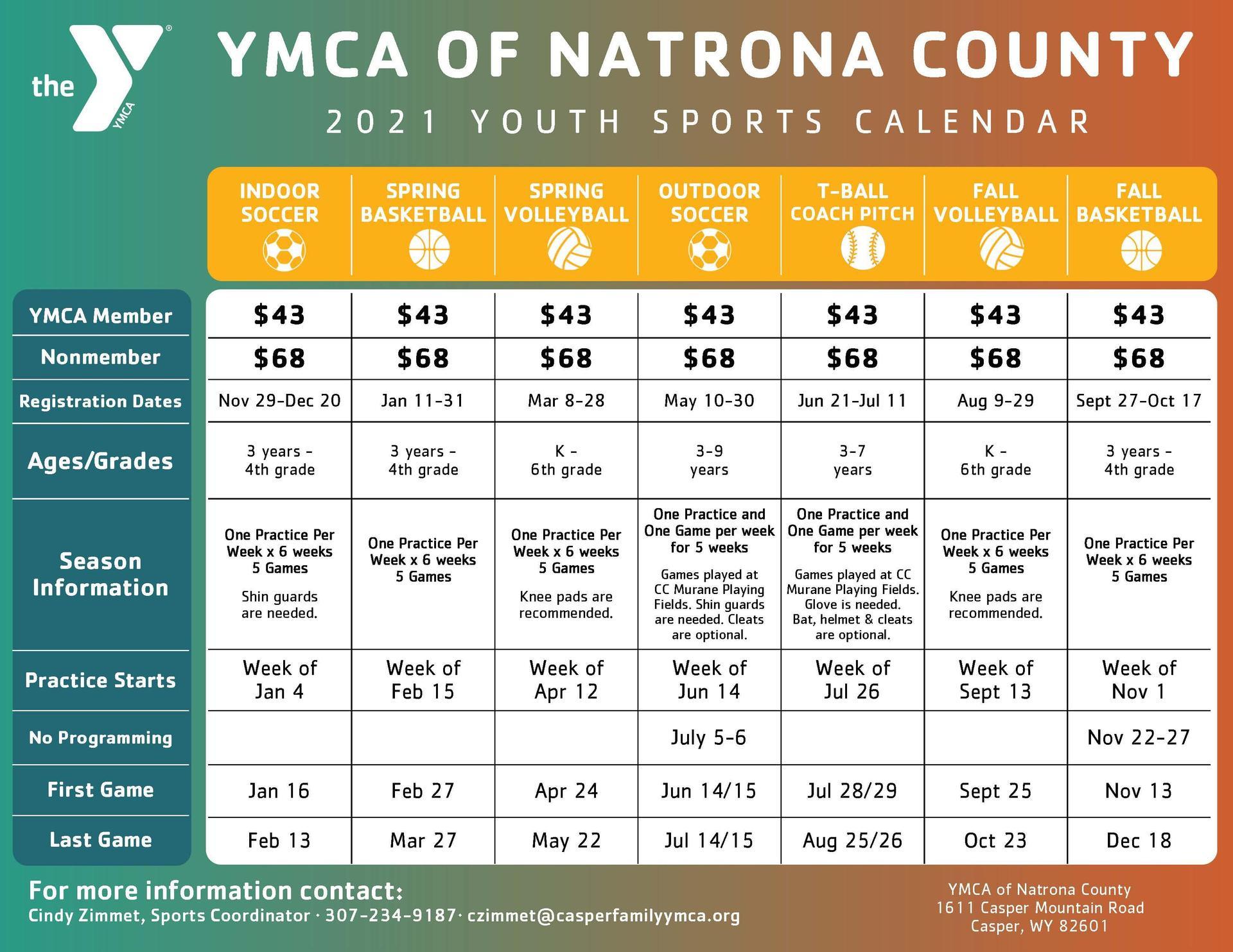 YMCA Sports Calendar