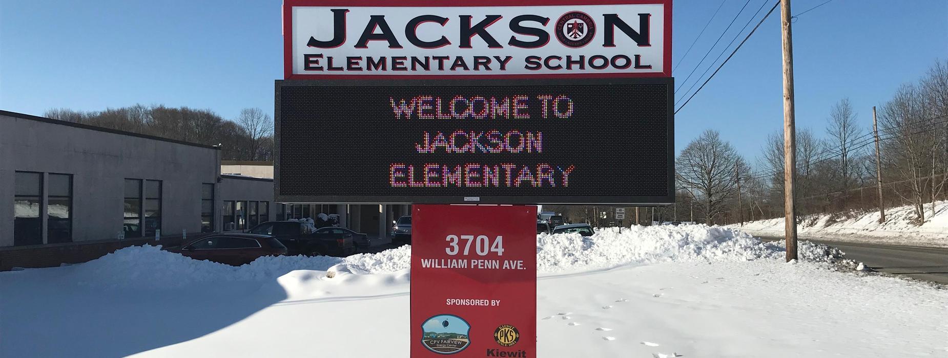 Photo of Jackson Elementary digital sign