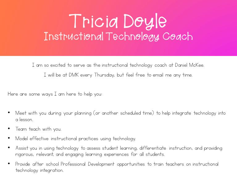 Tricia Doyle, Instructional Tech Coach