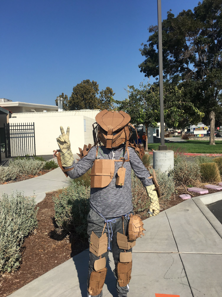 student dressed up in homemade costume