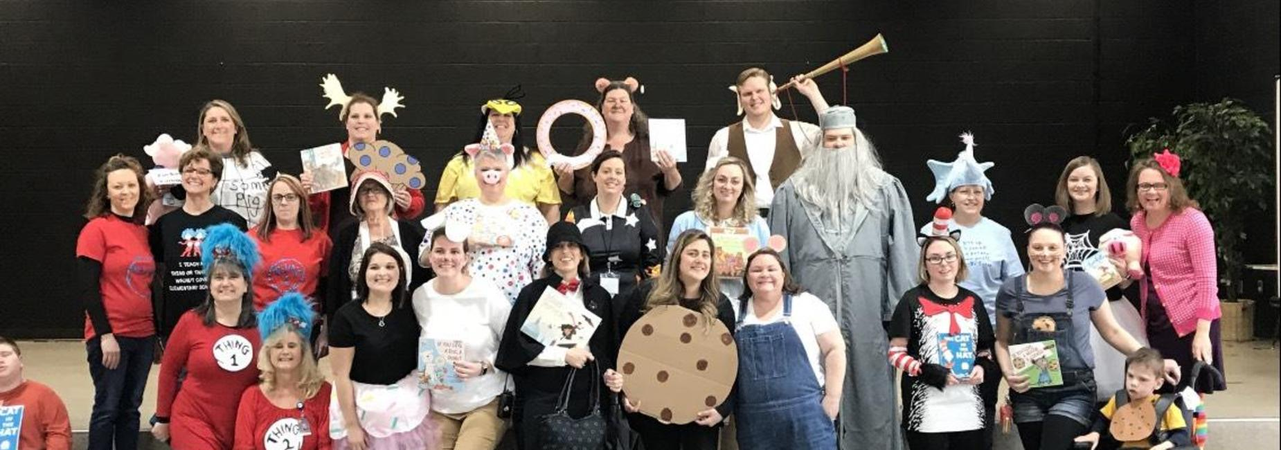 Photo of teachers dressed up for read across america week.