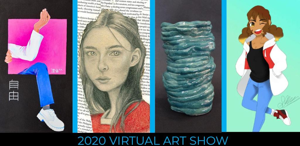 Four tiles of student artwork promoting the Virtual Art Show
