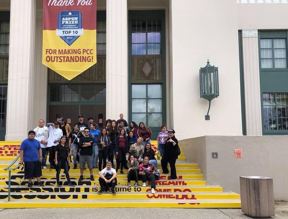 El Monte students outside Pasadena City College
