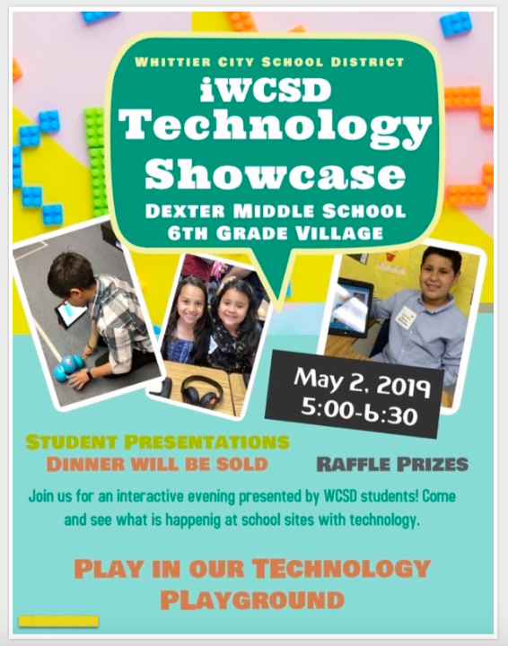 iWCSD Technology Showcase May 2, 2019 5:00-6:30 PM at Dexter Middle School