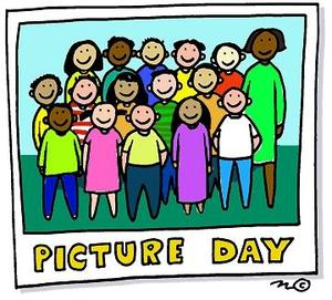 Group of cartoon students standing in rows posing for a picture