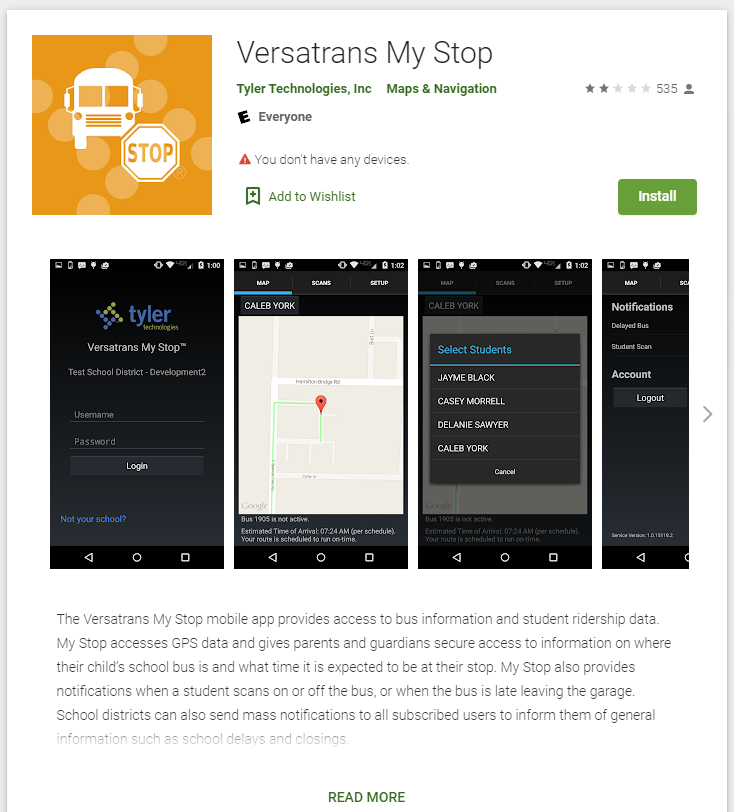 Download the Versatrans My Stop app in the Google Play Store