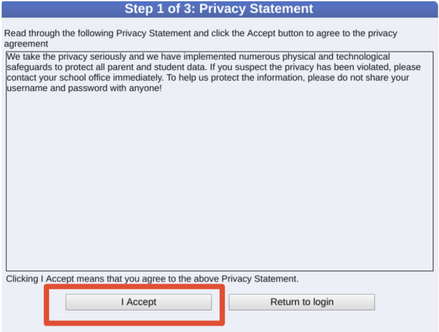 Screenshot of privacy agreement