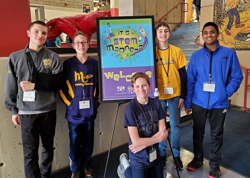 The team of Mars Area Middle School students (from left) Declan Abbey, Carson Mahon, Aidan Teboul, Mitchell Kulfan and Nameer Dheen competed in the 2020 Southwestern Pennsylvania Regional Middle School Science Bowl.