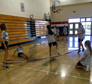 Jump band fun with Mr. Stroh in PE!