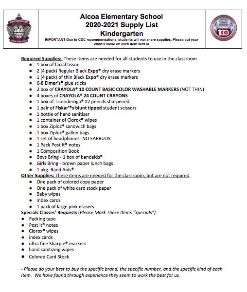 Kindergarten 20-21 Supply List