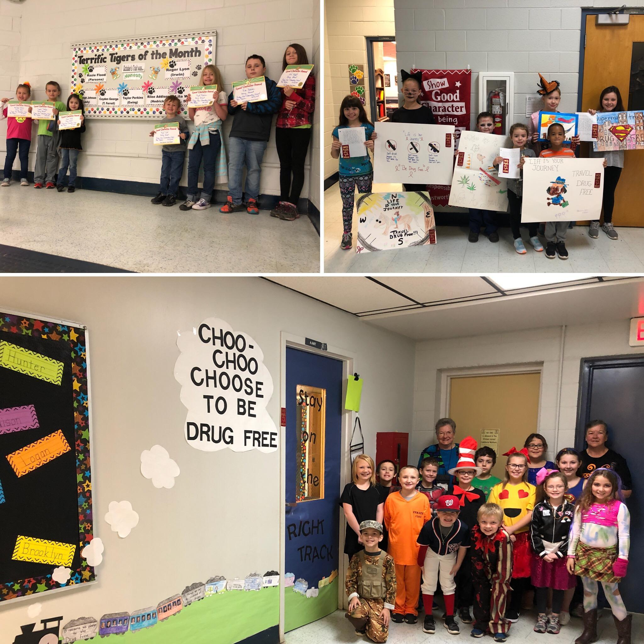 Picture of Terrific Tigers of the Month in the top left picture, Red Ribbon Week Poster and Essay Winners top right picture, Red Ribbon Week Door Decoration Winner Ms. Hart's Class bottom picture
