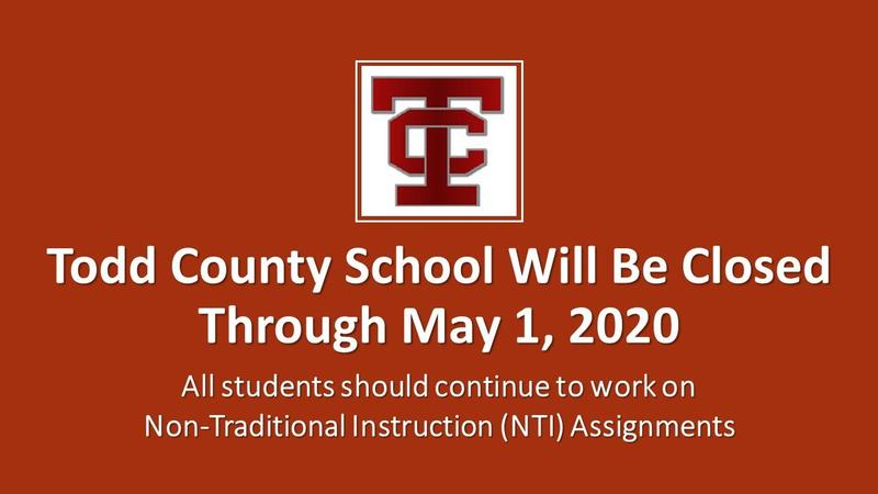 Todd County Schools CLOSED THROUGH MAY 1, 2020 Featured Photo