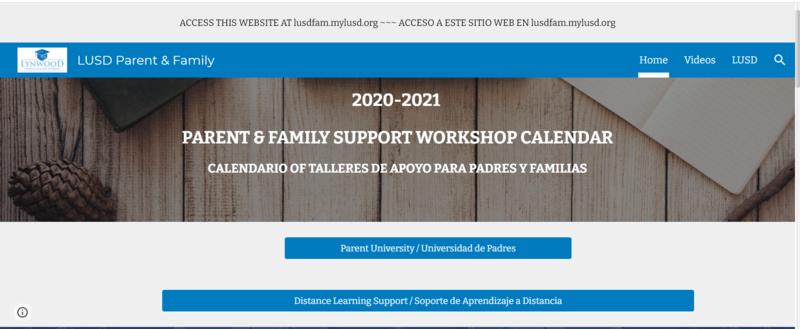 Parent & Family Workshops Calendar 2020-2021/ Calendario de Talleres para Padres y Familias 2020-2021 Featured Photo