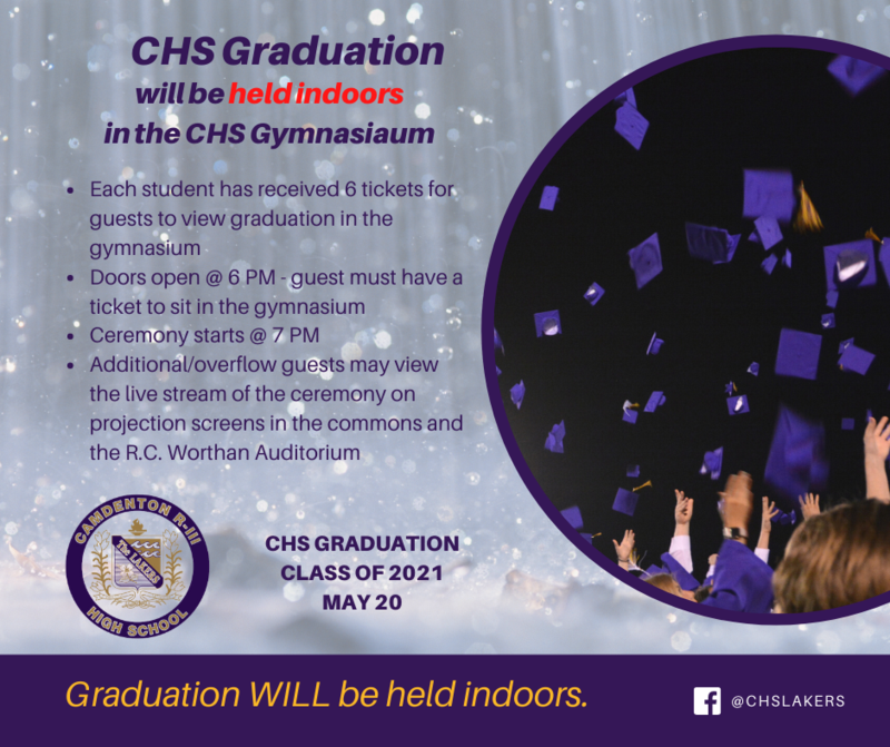 Graduation - CHS Class of 2021 - will be held indoors Featured Photo