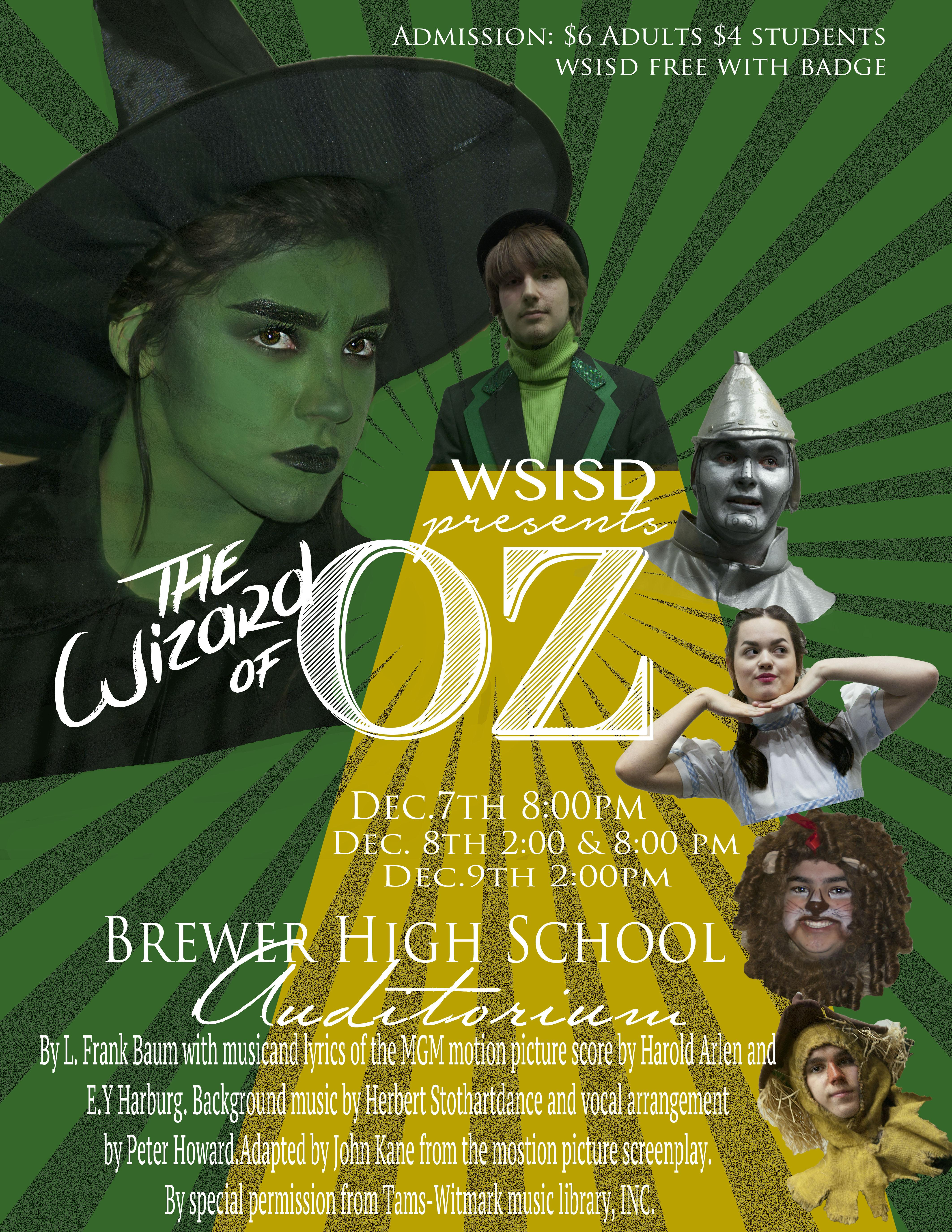 "The Brewer Theatre Department will present its district-wide musical performance of ""The Wizard of Oz"" this weekend."