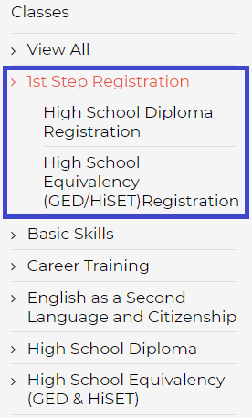Screenshot of Classes menu with 1st Step Registration circled in blue