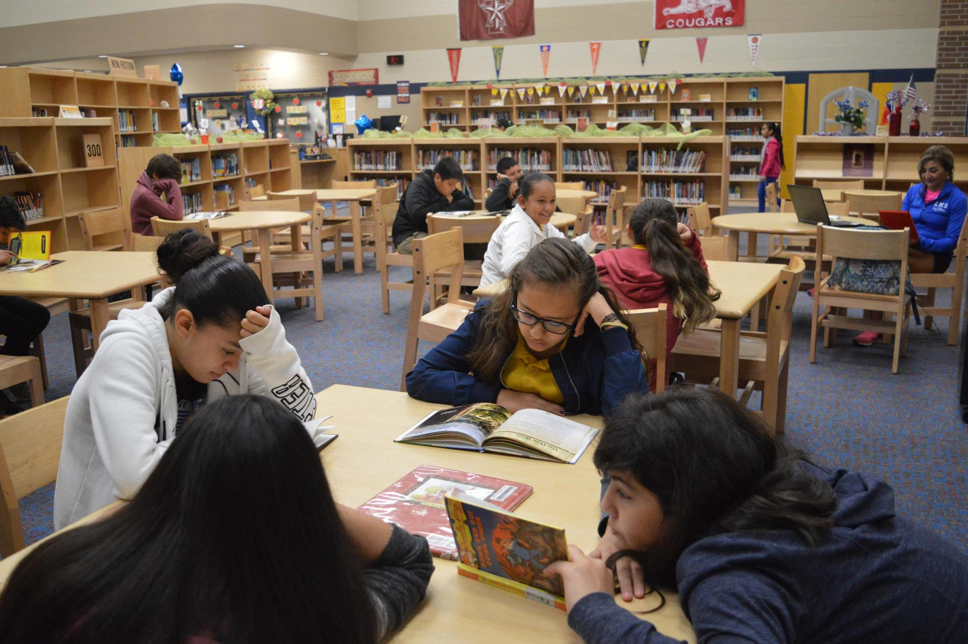 Image of students reading books at library tables.