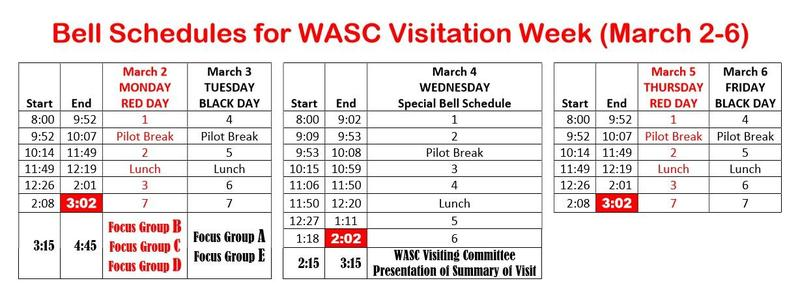 WASC Visitation Week Bell Schedules Featured Photo