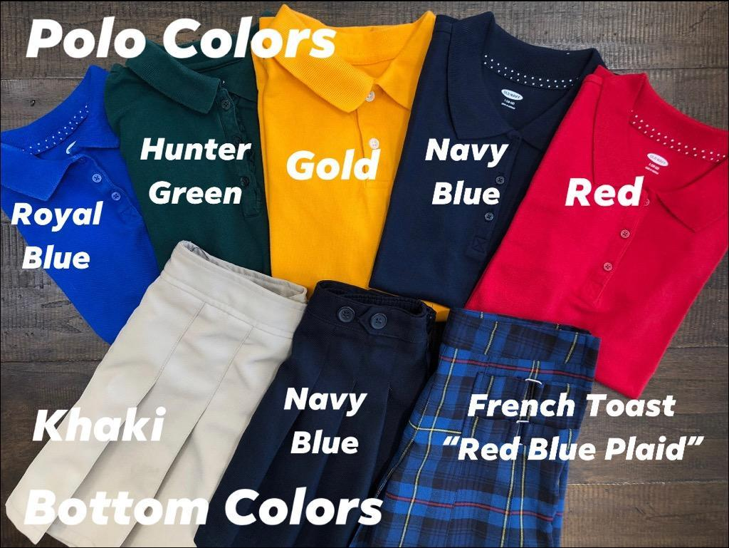 Uniform shirts in different colors