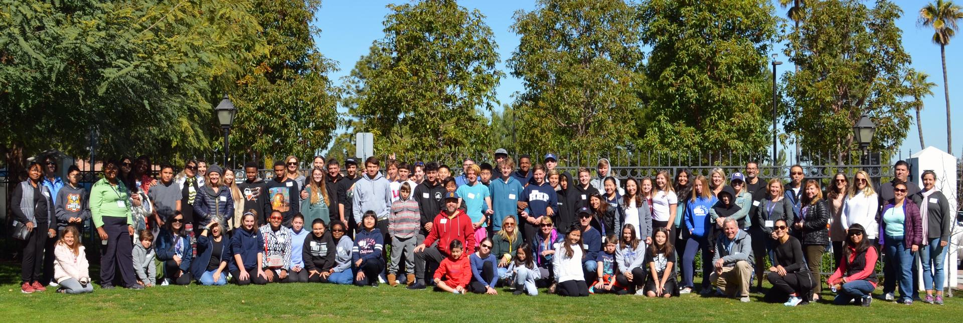 Students, parents, faculty, and staff at our first annual 'Huskies With Heart' community service day.