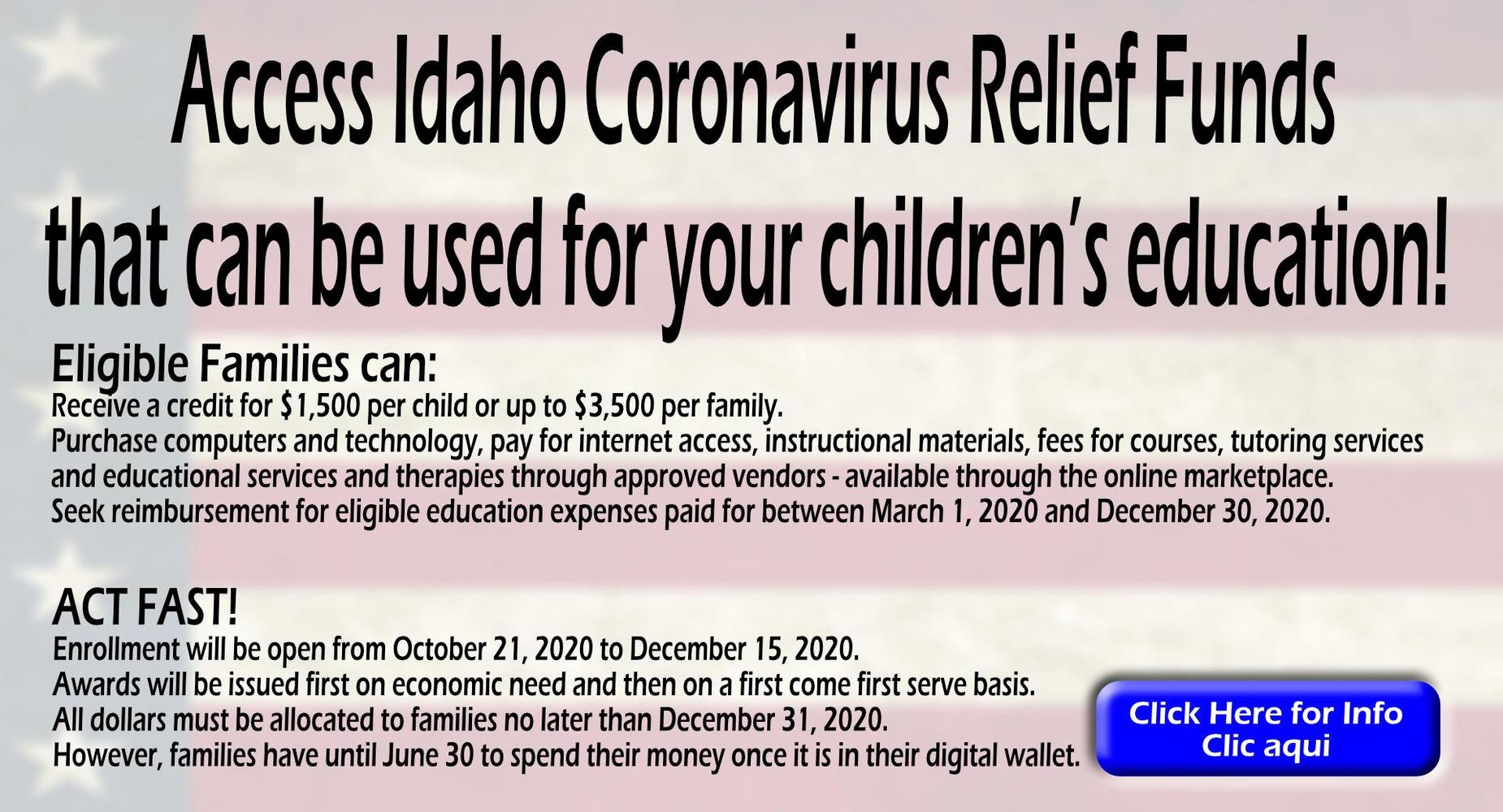 Access Idaho Coronavirus Relief Funds