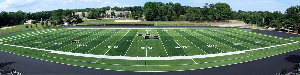 Wide View of Football Field at Paramus Catholic High School