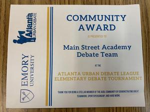 2019 TMSA Elementary School Debate Team Community Award.jpg
