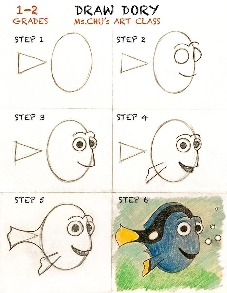 Drawing Disney character Dory