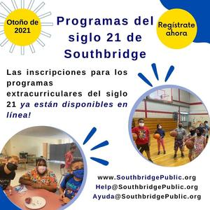 A graphic in Spanish to introduce the Fall 2021 21st Century After School Program
