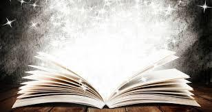 Image of a book with magical stars.
