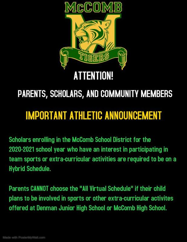 McComb School District Athletic Department News 2020-2021  #ItsComeBackTime