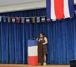 Photo of WHS junior Rosy Garabete, emcee of the cultural diversity event on May 2.