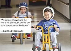 """We cannot always build a future for our youth, but we can build our youth for the future."" Franklin D. Roosevelt, 2 Readiness students during the   St. Jude's Trikeathon"