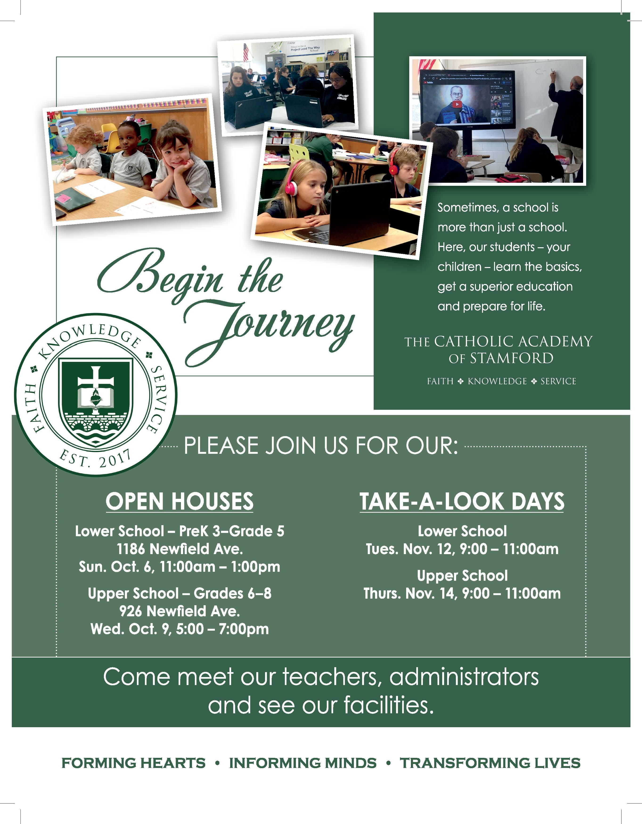 Fall Open House and Take-a-Look Days Coming Soon!