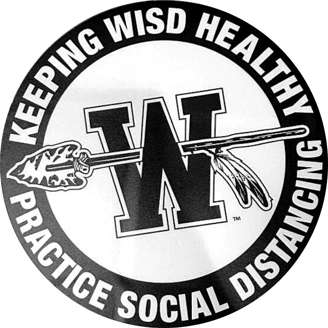 decal reads keeping WISD healthy practice social distancing