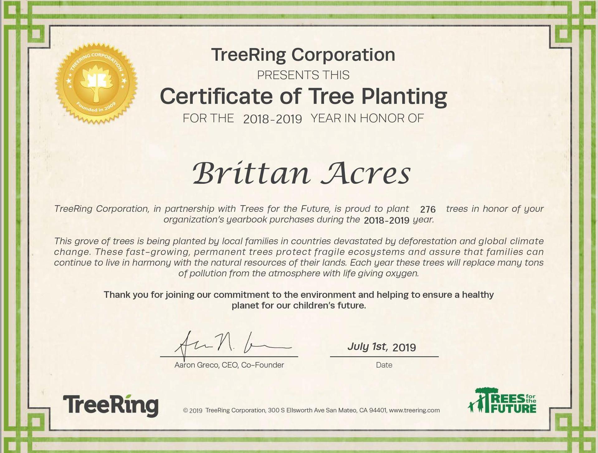 TreeRing certificate