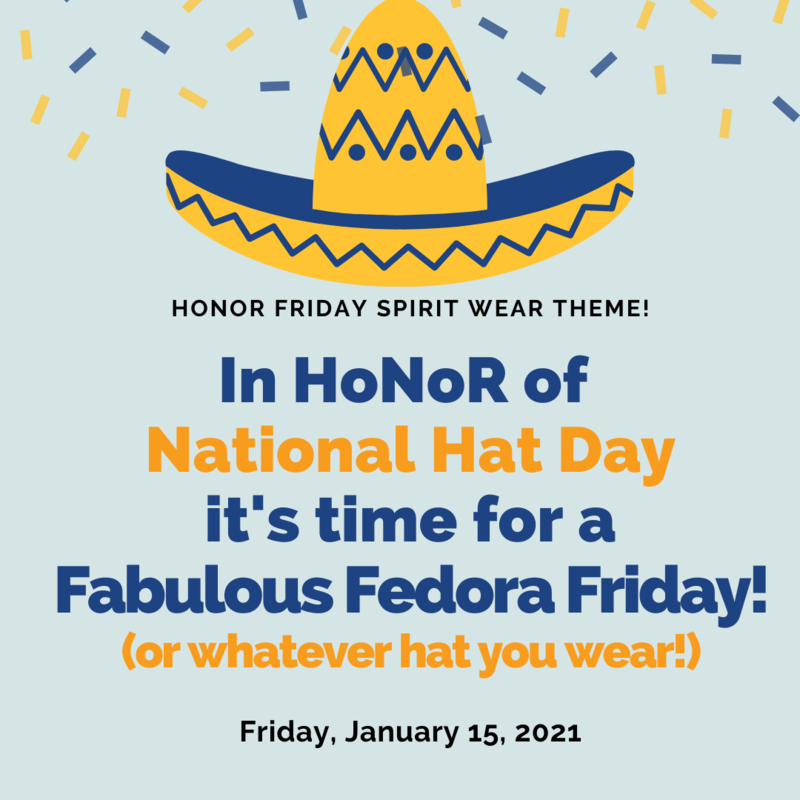 Friday, January 15th Spirit Wear theme:  Hats, Hats and more Hats Featured Photo