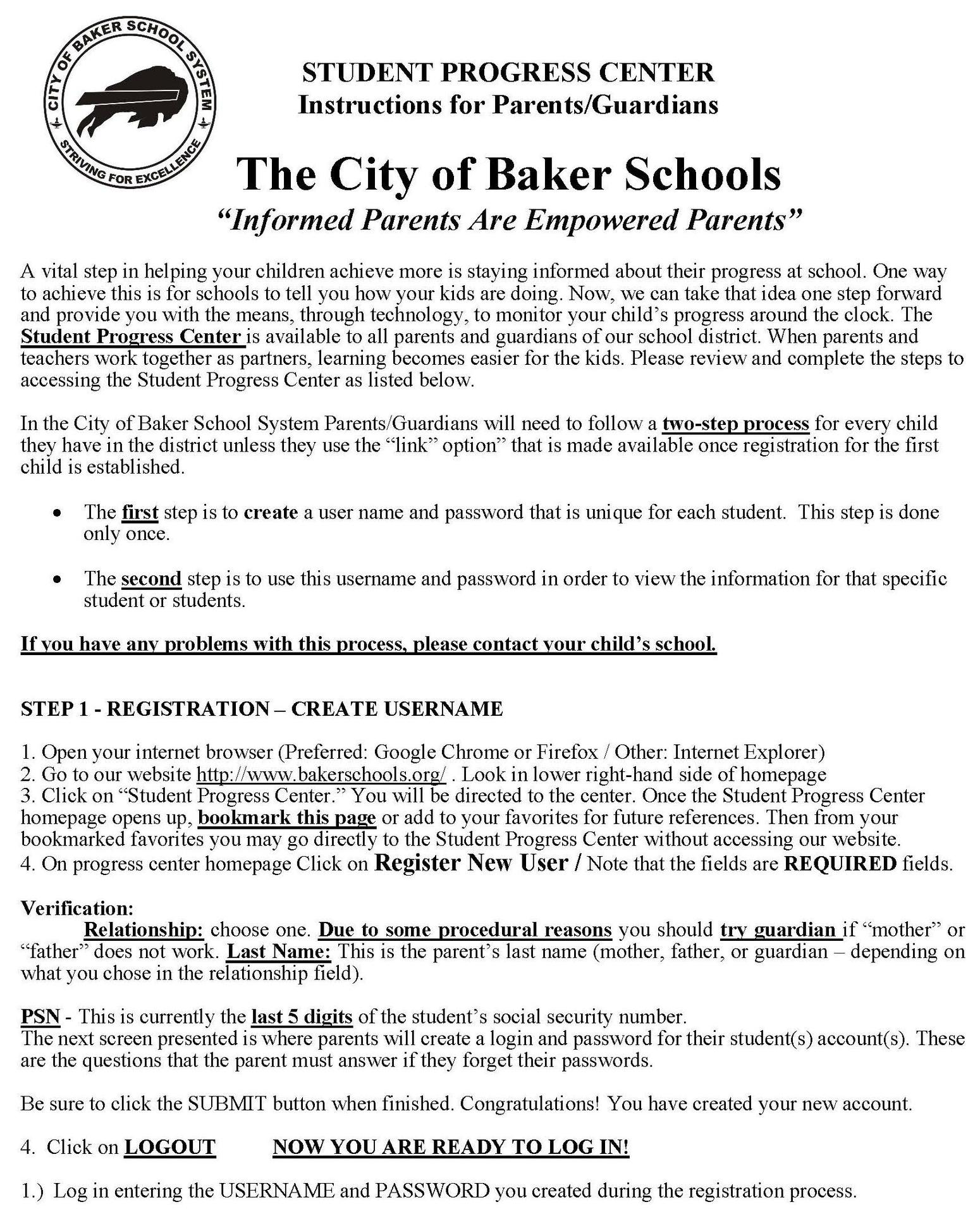 a photo of instructions for setting up an account in the Baker Student Progress Center