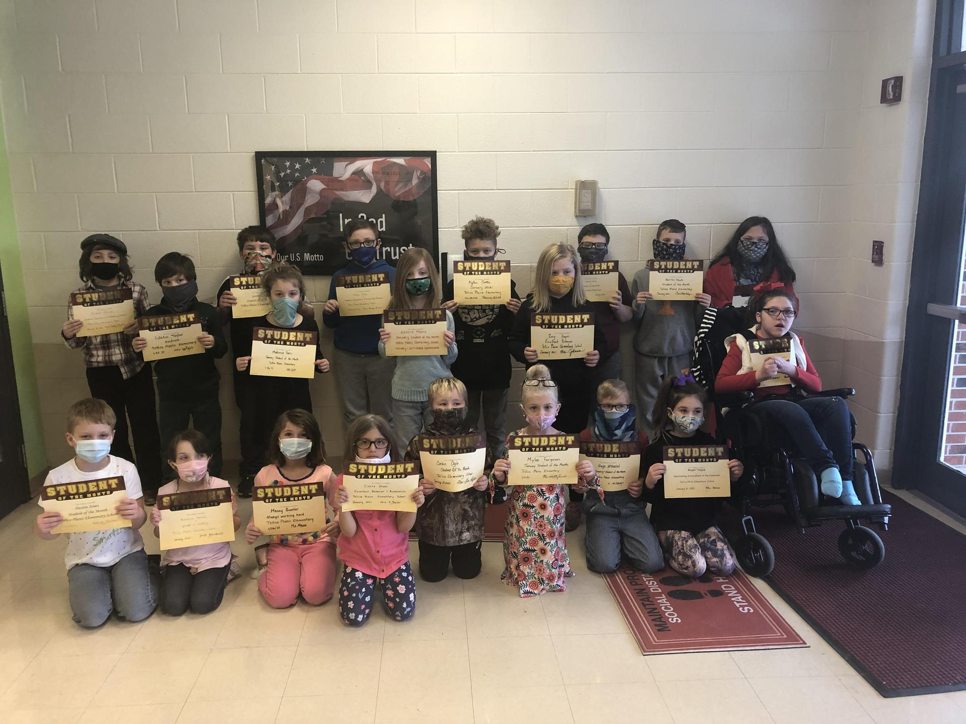 Picture of January 2021 TPES Student of the Month recipients