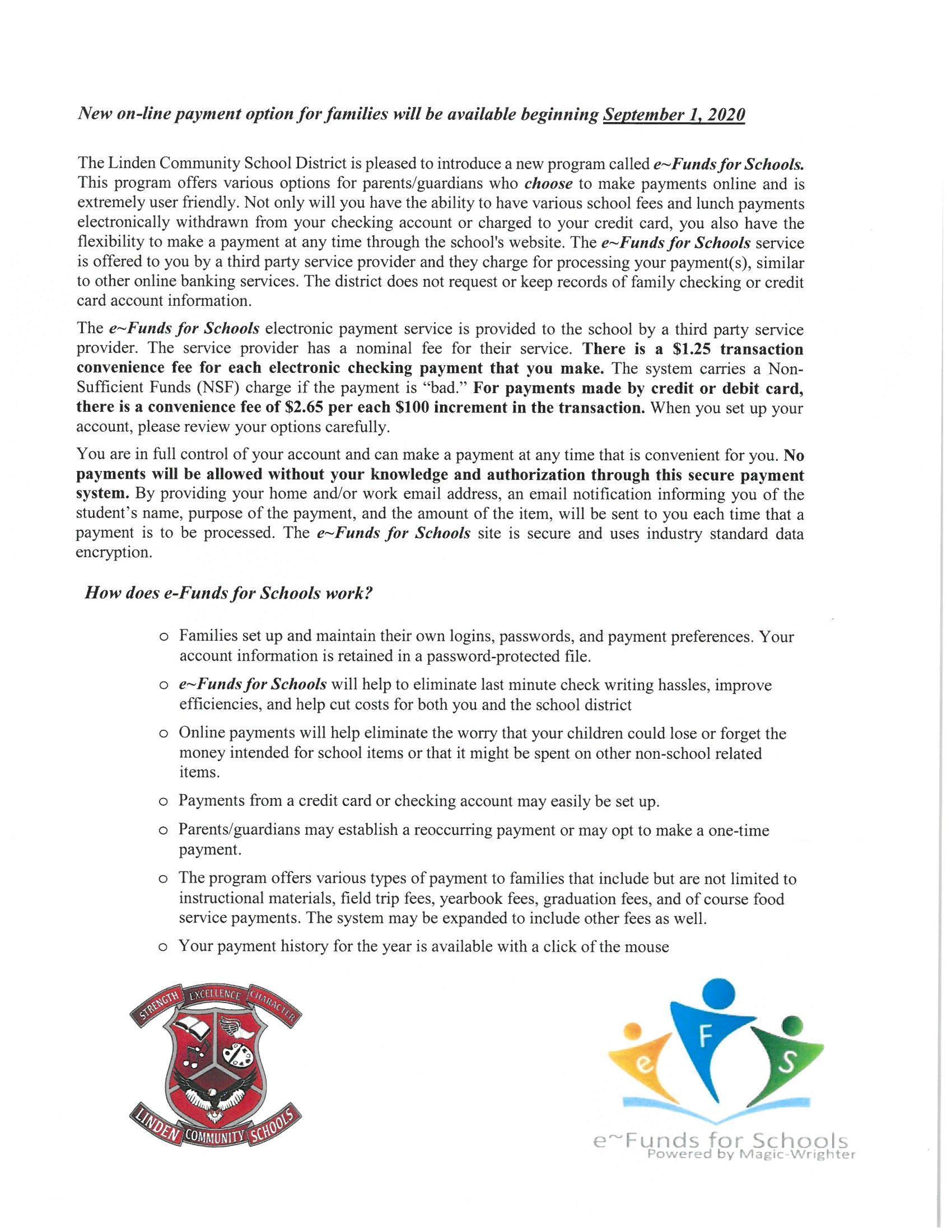Letter describing e-Funds for Schools
